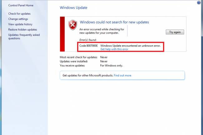 Windows Update 8007000E Hatası Çözümü